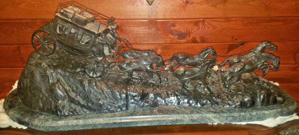 Monumental Stagecoach Solid Broze Signed Charles Russell  VERY HEAVY