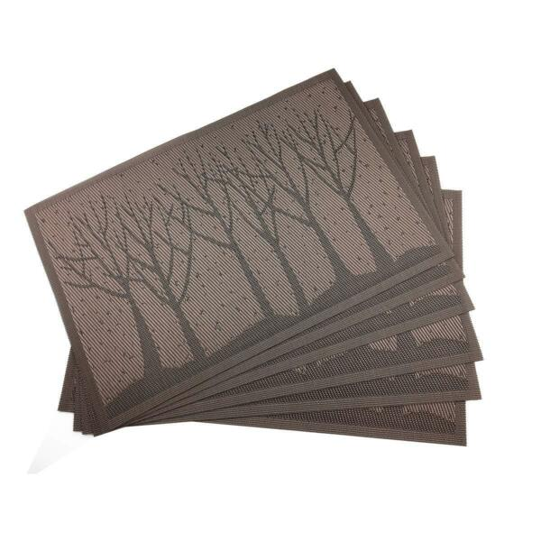 Brown Table Mats PVC Placemats for Kitchen Table Mats Washable Set of 6