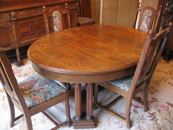 ANTIQUE 1800's OAK DINING RM SUITE SIDE BOARD CHINA CABINET SERVER AUBUSSON RUG