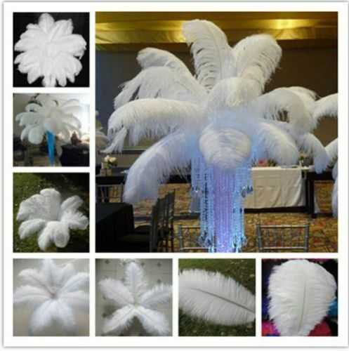 10~100pcs White Natural Ostrich Feathers 11-13 Inch Wedding Party Home Decor DIY