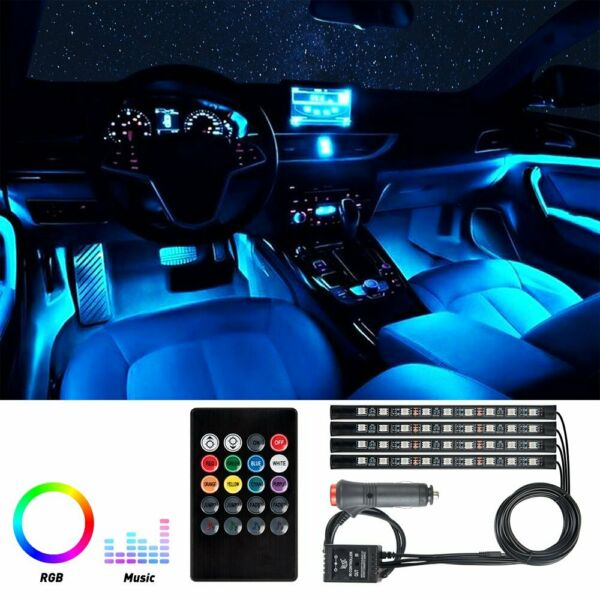 4X 36 LED Car SUV Interior Decor Neon Atmosphere Light Strip Music Control Color