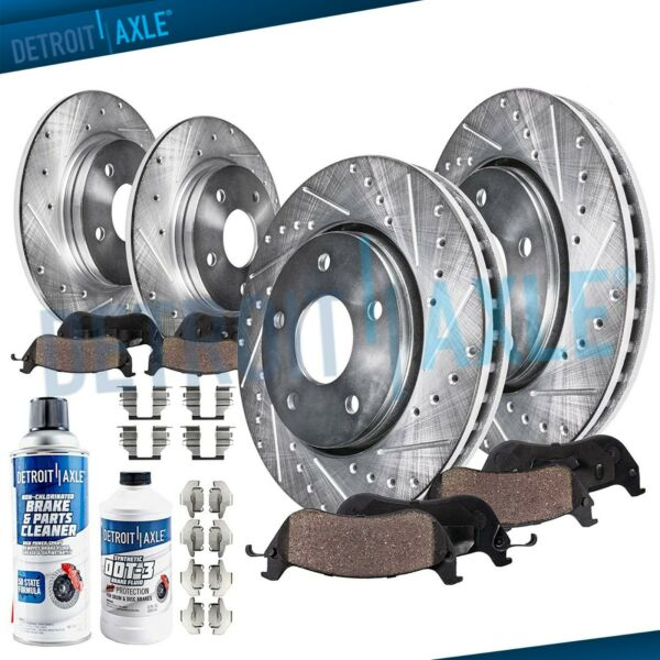 Front & Rear DRILLED Brake Rotors + Ceramic Pads for Acura TSX Honda ACCORD