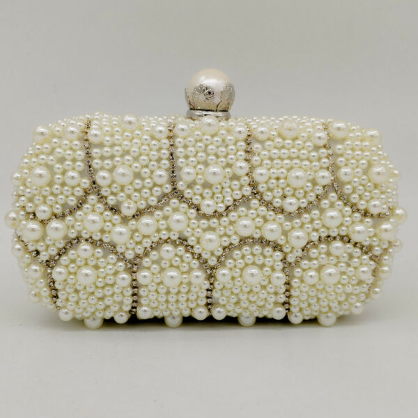 Vintage Pearl Clasp Women Beaded Evening Clutch Bag Wedding Bridal Handbag Purse