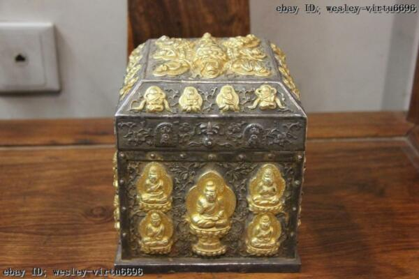 Tibet Old Buddhism Vintage Handmade engraved Pure Silver Gold Gilt seal Case Box