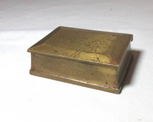 antique heavy gilt brass signed Bradley & Hubbard B&H desk stamp holder box