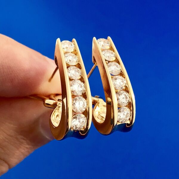 14k Yellow Gold Semi Hoop Diamond 2tcw Earrings Omega Backs