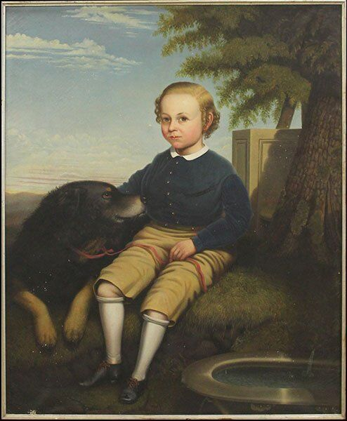 VERY LARGE BEAUTIFUL 19th C Portrait of a Boy and his Dog Ben Cooley c.1864