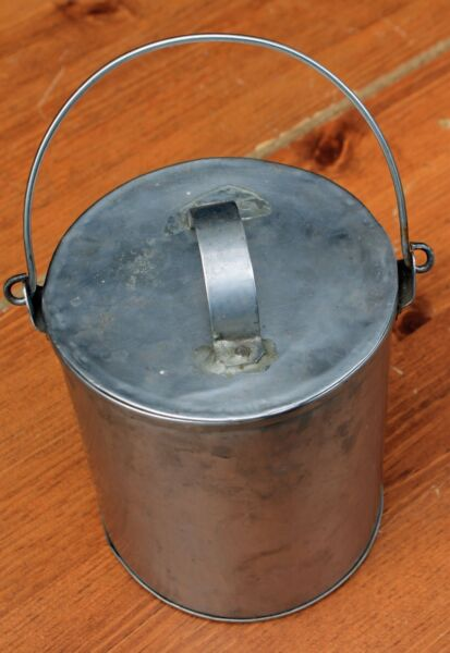Vintage Tin Pail Bucket with Handle & Lid Soldered Seam Hand Made