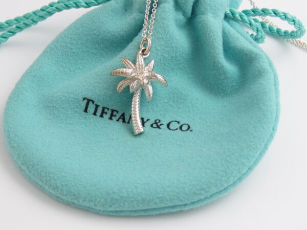 Tiffany & Co MINT NEW Silver Palm Tree Pendant Necklace