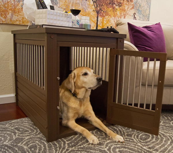Dog Kennel End Table Crate Wood For Extra Large Dogs Steel Spindles Russet Brown