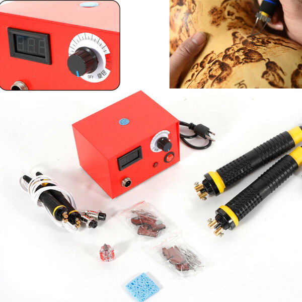 Multifunction Wood Burning Tool Machine Set With 2 Pyrography Pen Kits Tips 50W