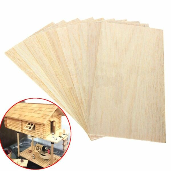 10x Balsa Wood Sheets Wooden Plate 200*100*1.5mm For House Ship Craft Model DIY