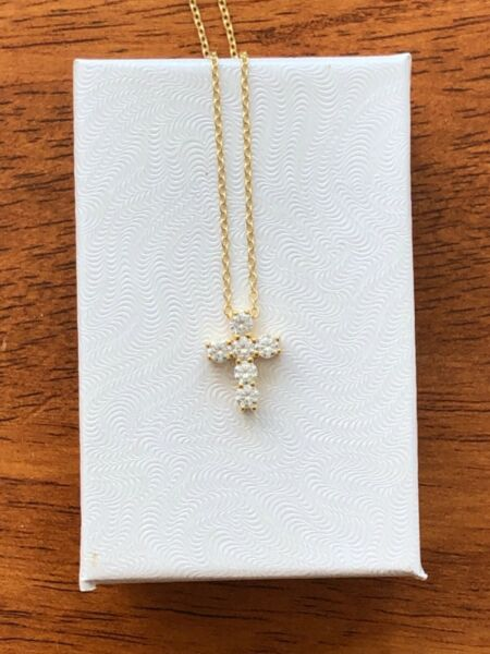 Sterling Silver 925 Tiny Cz Cross Pendant Necklace Womens 13mm Gold