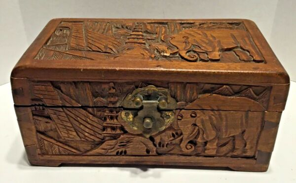Old Vintage Antique Carved Wood Pictorial Scene Chinese Box Chest with Elephants