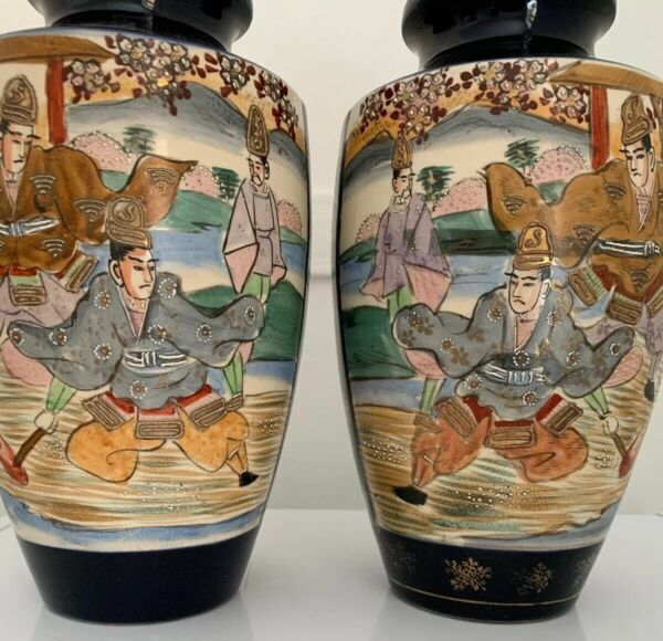 Rare Antique Japanese Fire Fighter Pair Of Vases