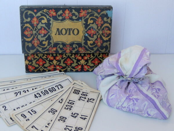 1954 Antique Vintage Soviet Russian Lotto Bingo Board Game Table Wooden Box