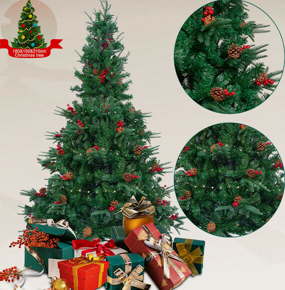 6ft Green 700 Pines Artificial Christmas Xmas Tree w 300 LED Warm White Lights