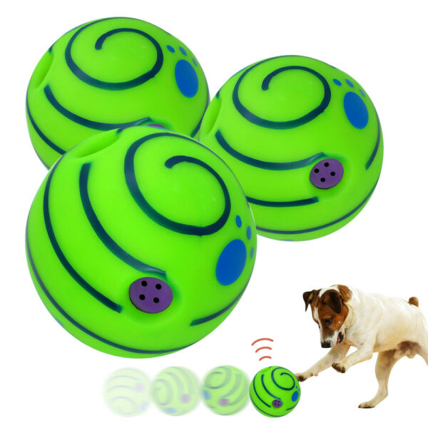 Wobble Wag Giggle Ball Funny Sound Dog Training Rolling Shaken Squeaky Dog Toys