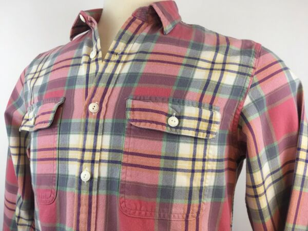 J Crew Pink Blue Double Pocket Flannel Pastel Multicolor Small A Condition