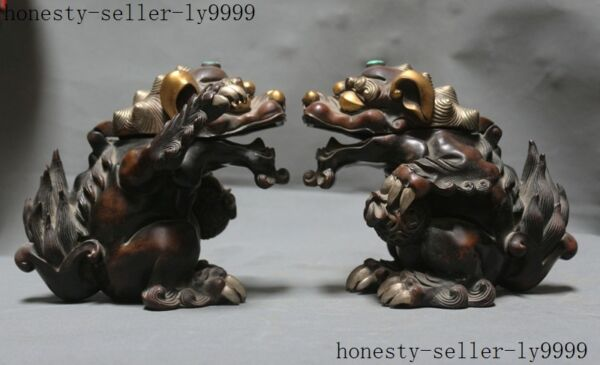 old Chinese purple copper Gilt mosaic turquoise beast pair Incense Burner censer