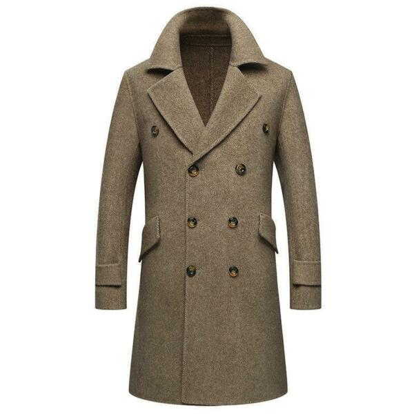 Mens 100% Cashmere Coat Long Jacket Overcoat Double breasted Outwear Parka Slim