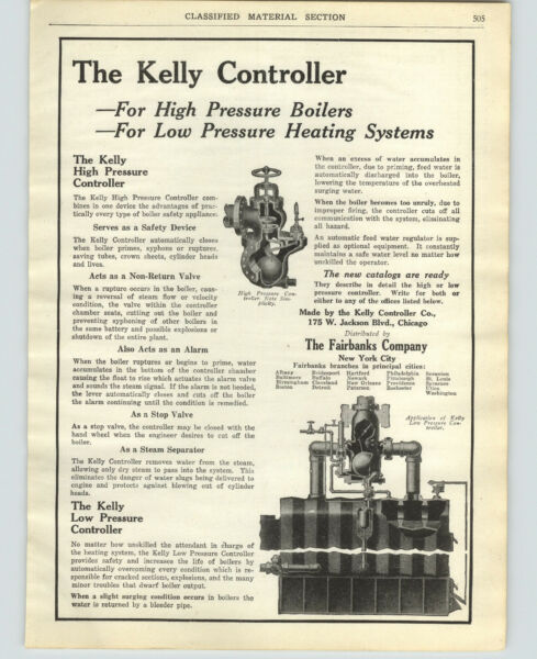 1921 PAPER AD The Fairbanks Co Kelly Controller Pressure Boilers Heating Systems $30.38