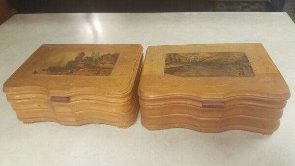 Vintage Wooden Boxes With Carved Picture Top