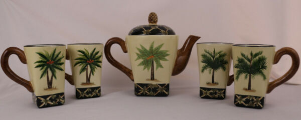 Pacific Rim Hand Painted Coconut Palm Tree Coffee  Tea Pot 5 pc set Mugs