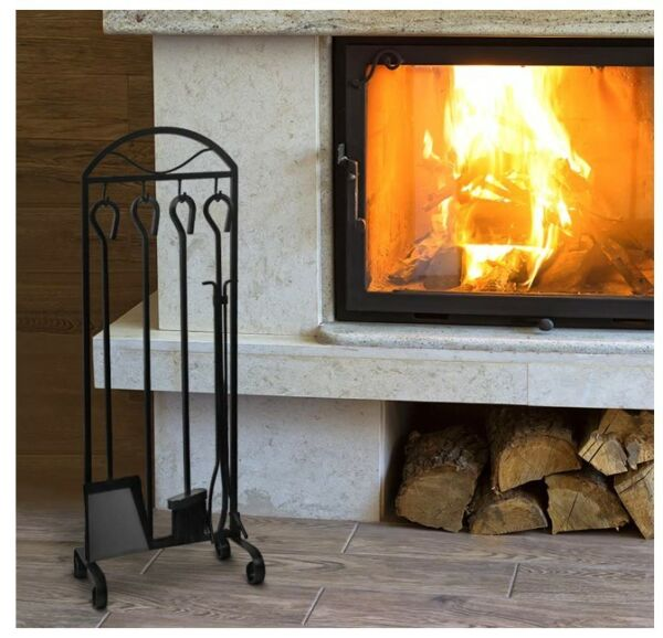 Garden amp; home 5 pieces fireplace wrought iron tooolse with decor holder