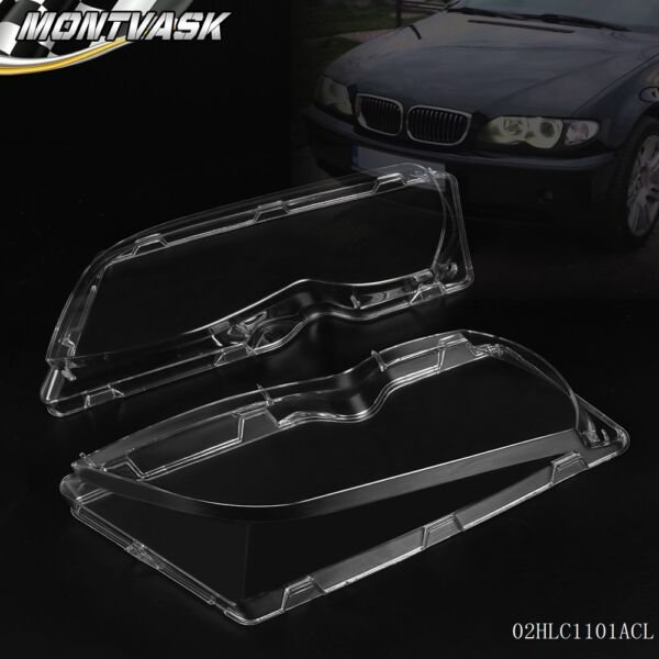 Pair Front Left + Right Headlight Lens Plastic For BMW E46 3-series 4DR 02-05