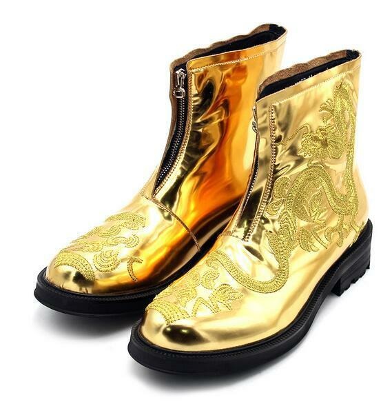 Men Runway Embroidery High Top Ankle Boot Real Leather Shiny Party Gold Shoes E1