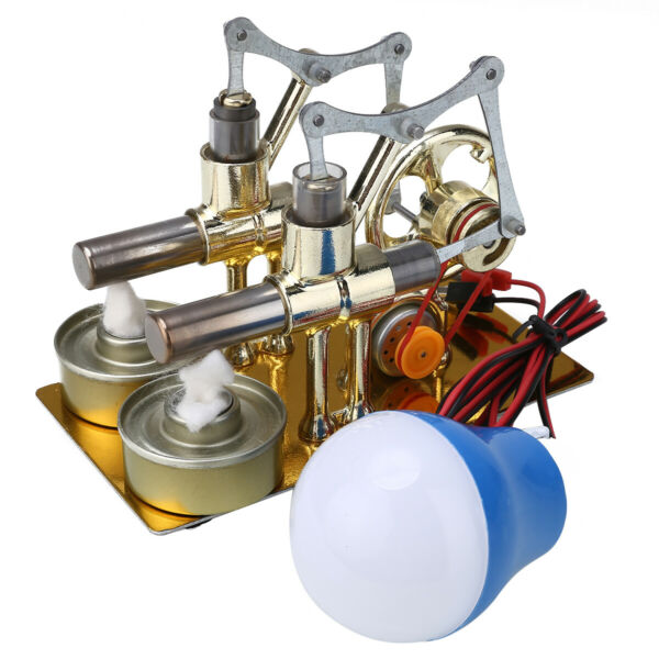Double Cylinder Hot Air Stirling Engine Motor Model Generator Toy w Light  #USA