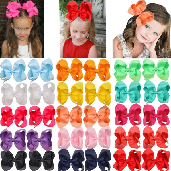 30Lot Grils Hair Bows 6 Inch Large Big Grosgrain Ribbon Bow Alligator Hair Clips