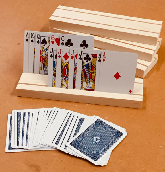 SET OF 4 HAND MADE WOODEN PLAYING CARD HOLDERS MADE FROM SELECT PINE $13.95