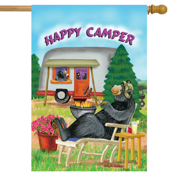 Happy Camper Summer House Flag Camping Bear Fire 28quot; x 40quot; Briarwood Lane