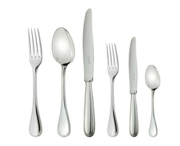Perles by Christofle Paris Silver Plate Flatware Set 36 Pieces with Chest New