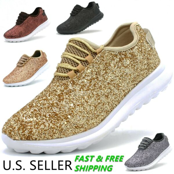 Women's Fashion Sneakers Lace-Up Glitter Sparkly Lightweight Metallic Walking