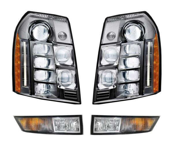 Left & Right Genuine LED Headlights Headlamps & Fog Lights Kit for Cadillac GM