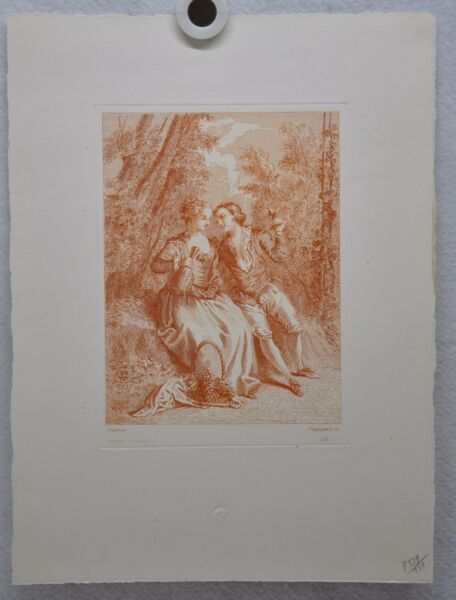 Auguste Pequegnot Etching After Antoine Watteau Plate 131 Lithograph Print