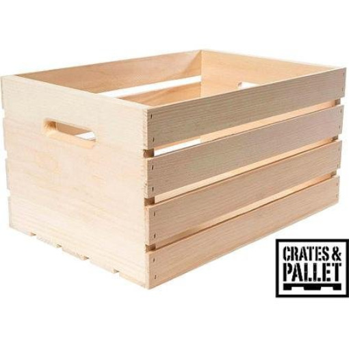 LARGE WOOD CRATE PALLET 18x12.5x9.5 Inch Wooden Unfinished Storage Box Organizer