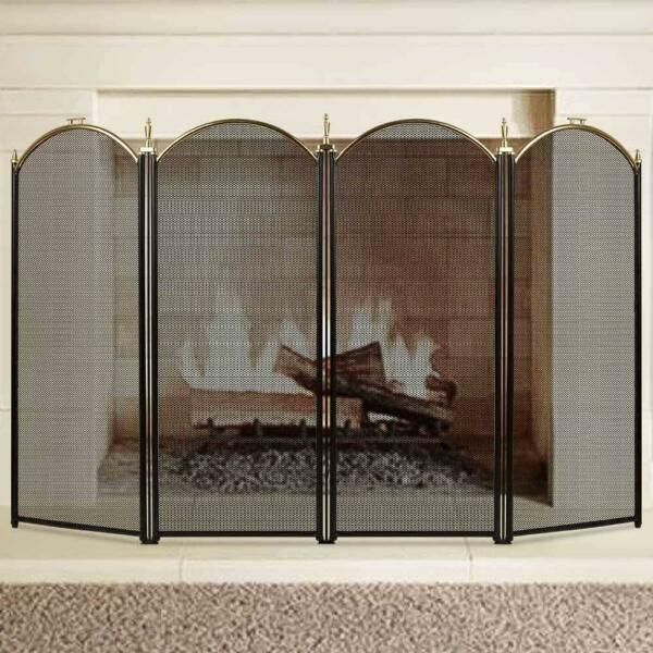 Fireplace Screen 4 Panel  Wrought Iron Metal Fire Place Large Gold Extendable