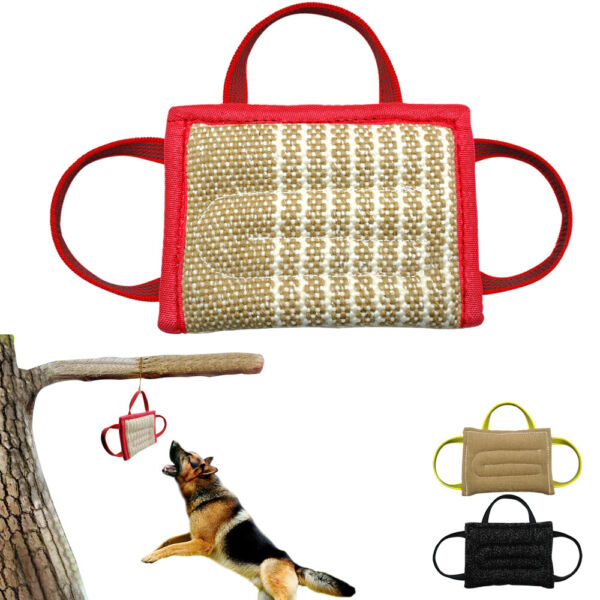 Jute Young Police Dog Bite Pillow Durable Training Chewing Tug Toy with 3 Handle