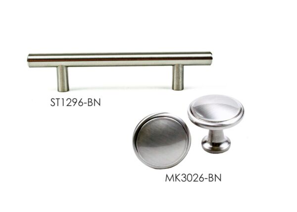 Knob and Bar Pull in Brushed Nickel for Kitchen Bathroom Cabinet Hardware by KPT