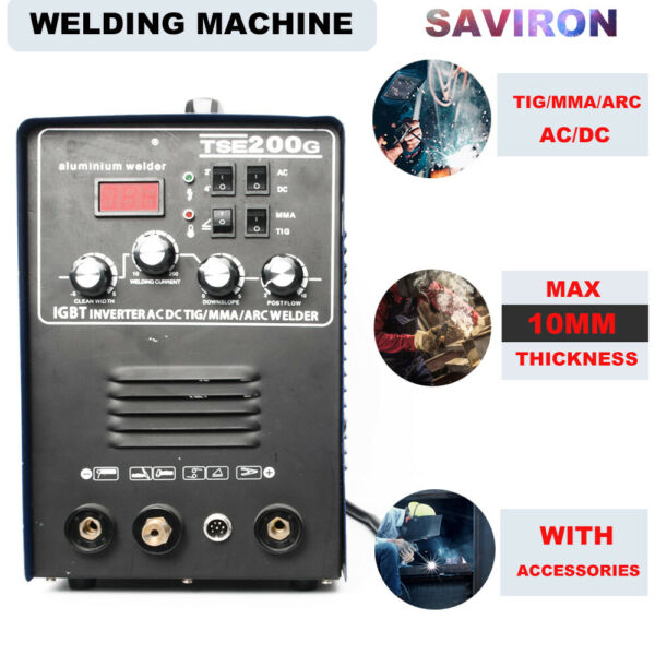 IGBT Inverter ACDC WIG TIGMMA Stick ARC Welder Aluminum Welding Machine 200A