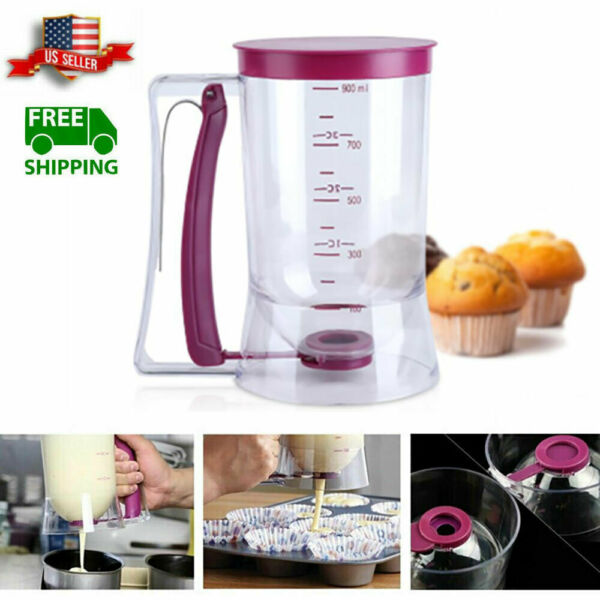 900ml Batter Dispenser Cupcake Pancake Muffin Kitchen Measuring Baking Mix Tool