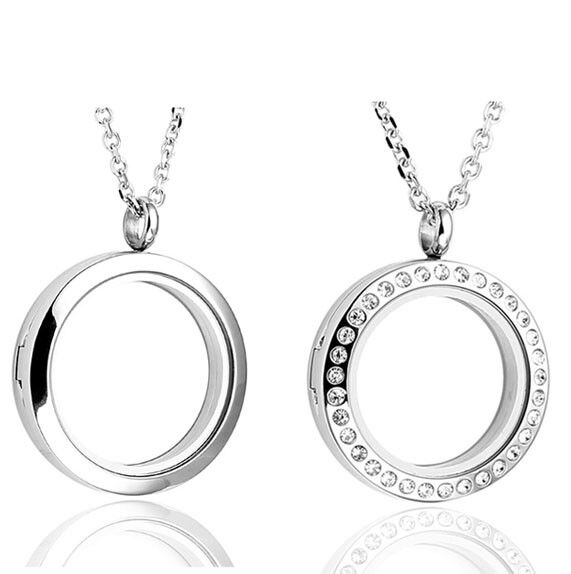 Round Floating Locket Stainless Steel Living Glass Memory Pendant Necklace US
