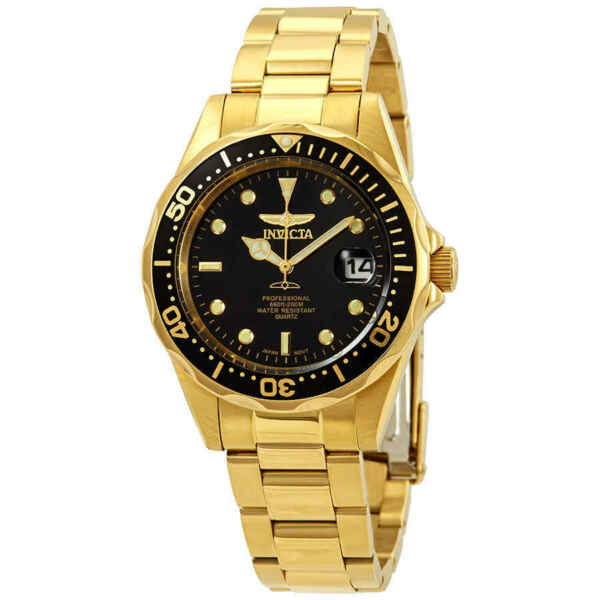 Invicta Pro Diver Black Dial Yellow Gold plated Men#x27;s Watch 8936