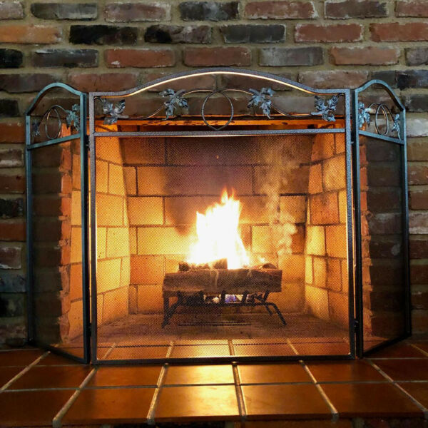 Amagabeli Fireplace Screen 3 Panel Pewter Wrought Iron Folding Door Solid Sliver