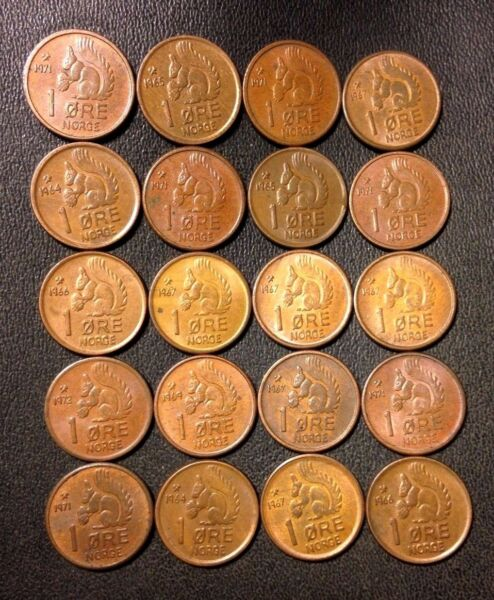 Vintage Norway Coin Lot - Ore - SQUIRREL SERIES - 20 Great Coins - FREE SHIPPING