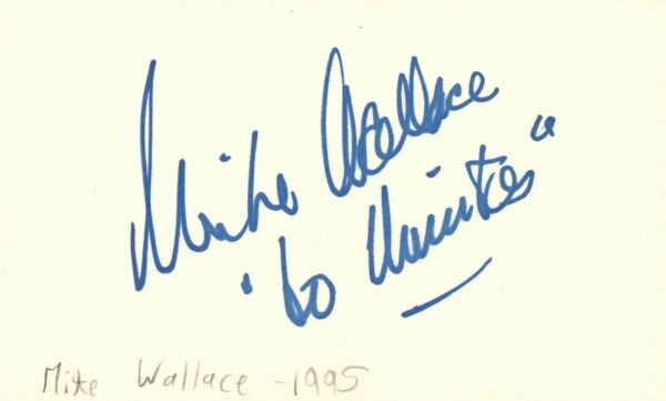 Mike Wallace Actor Journalist Game Show Host TV Autographed Signed Index Card